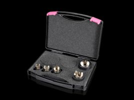 Splitter hole punch set, metric for stainless steel, round, with triple splitting