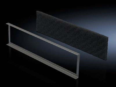 Filter mat for base/plinth component, vented and base/plinth component, vented, with designer trim panel