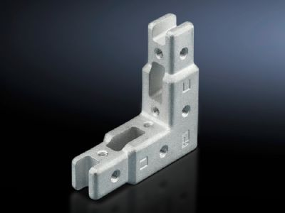 Corner connector for TS punched rail 17 x 17 mm