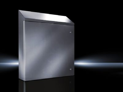 Wallmounted enclosure stainless steel, with Roof Slope