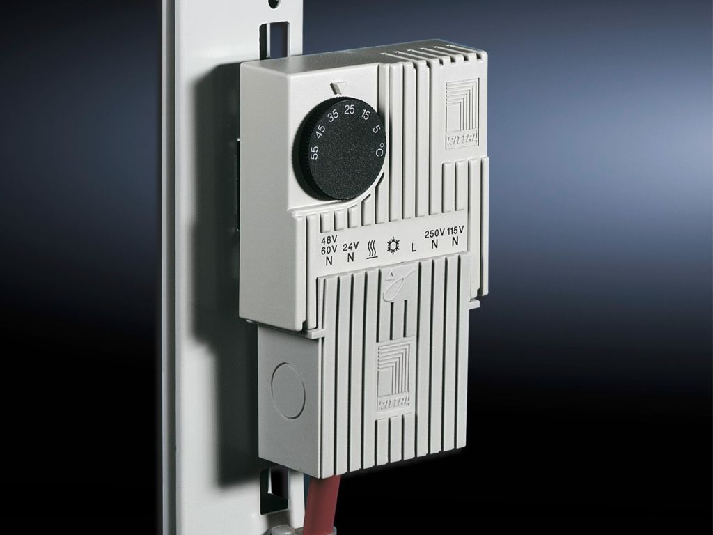 Bottom-mounted adaptor for enclosure internal thermostat and hygrostat