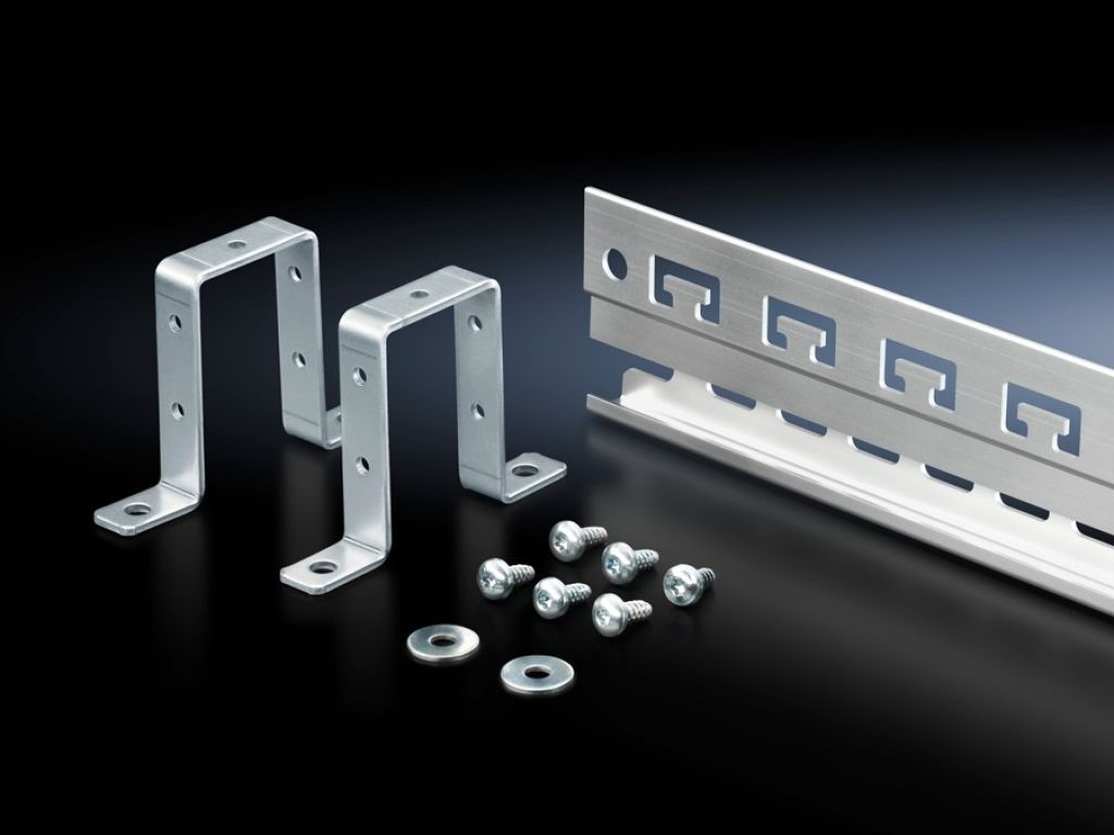 Rail for EMC shielding bracket and strain relief
