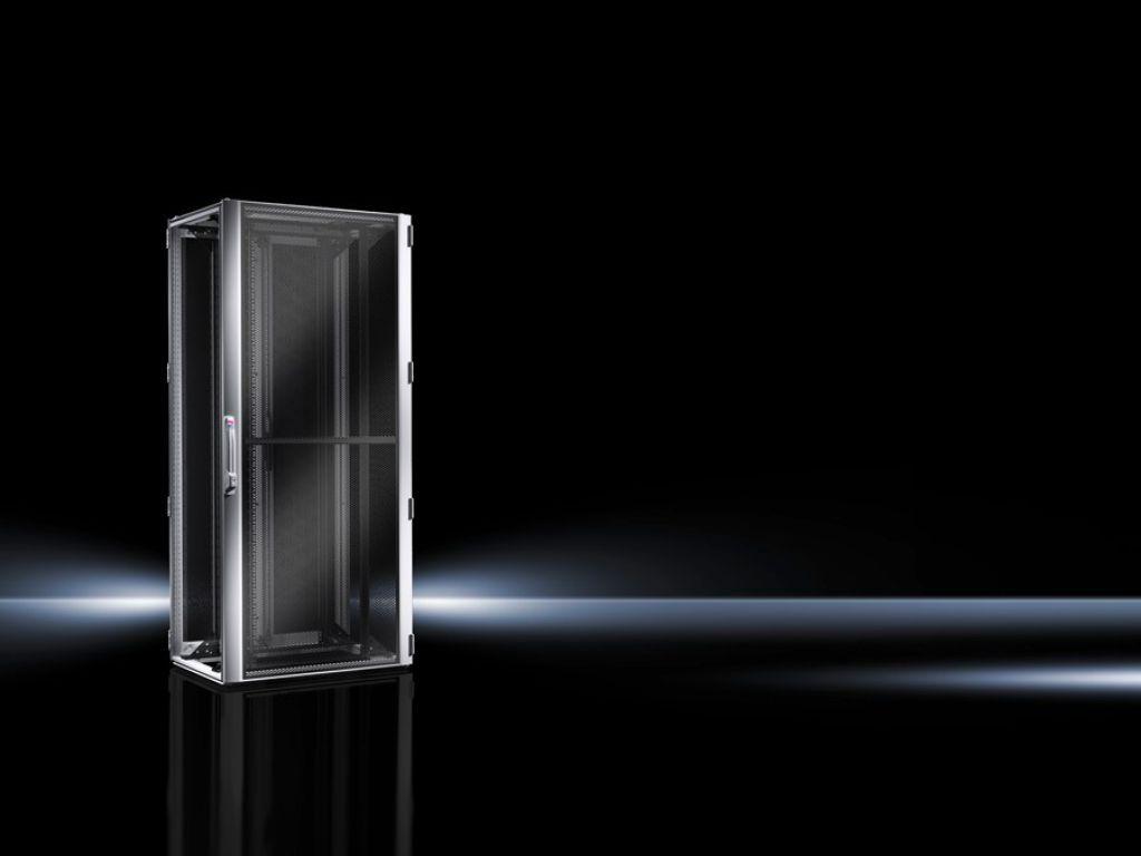 Armario para redes/servidores TS IT con puerta perforada, con marco de montaje de 19