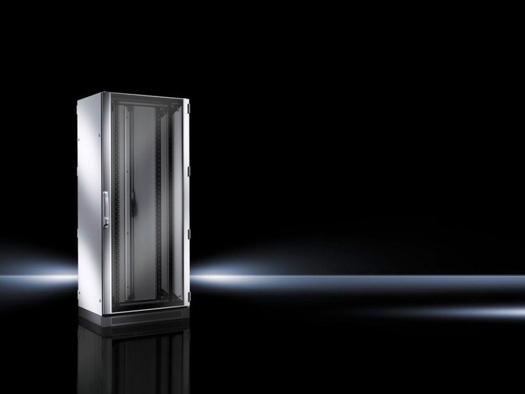 Armario para redes/servidores TS IT premontado, con puerta transparente, con marco de montaje de 19